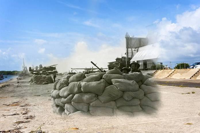 Defensores Ford Island detrás de un muro