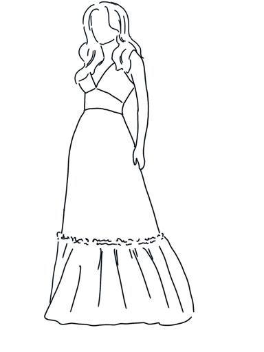 vestido largo con escote en pico y volante en la falda