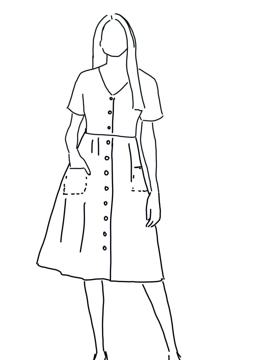 vestido evase de manga corta