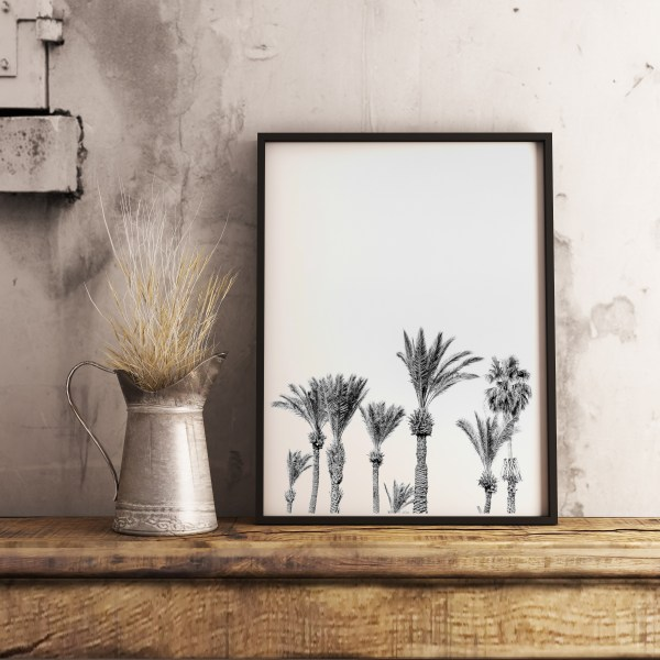 black white palm trees print