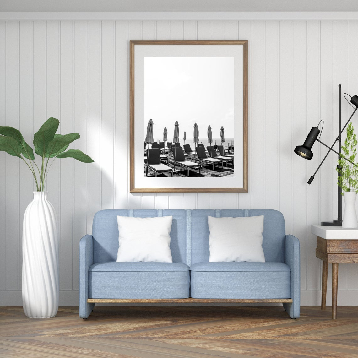 black and white pool chairs wall print tel aviv