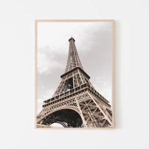 eiffel tower brown wall print