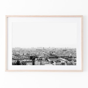 paris skyline black white wall print