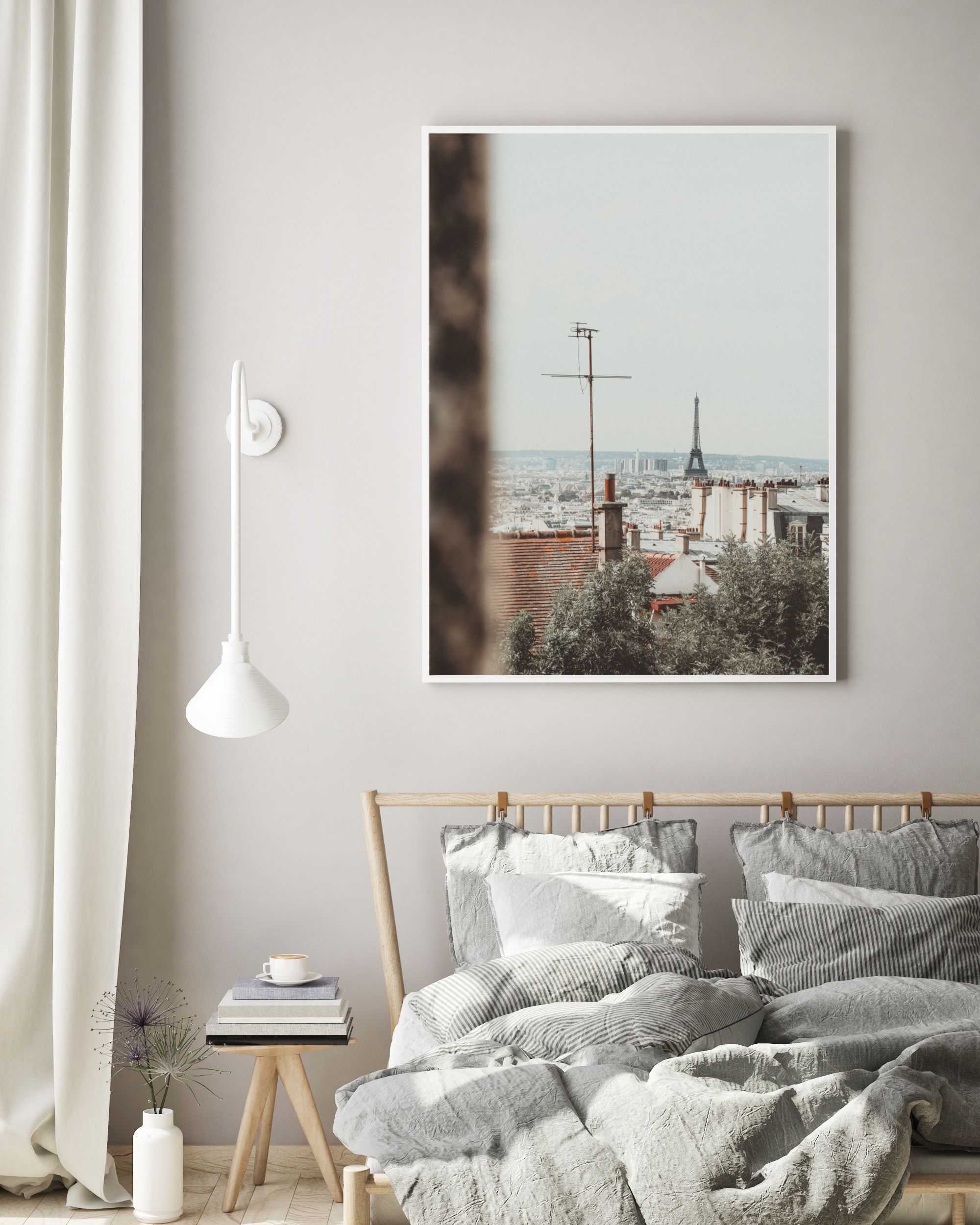 paris skyline eiffel tower wall print
