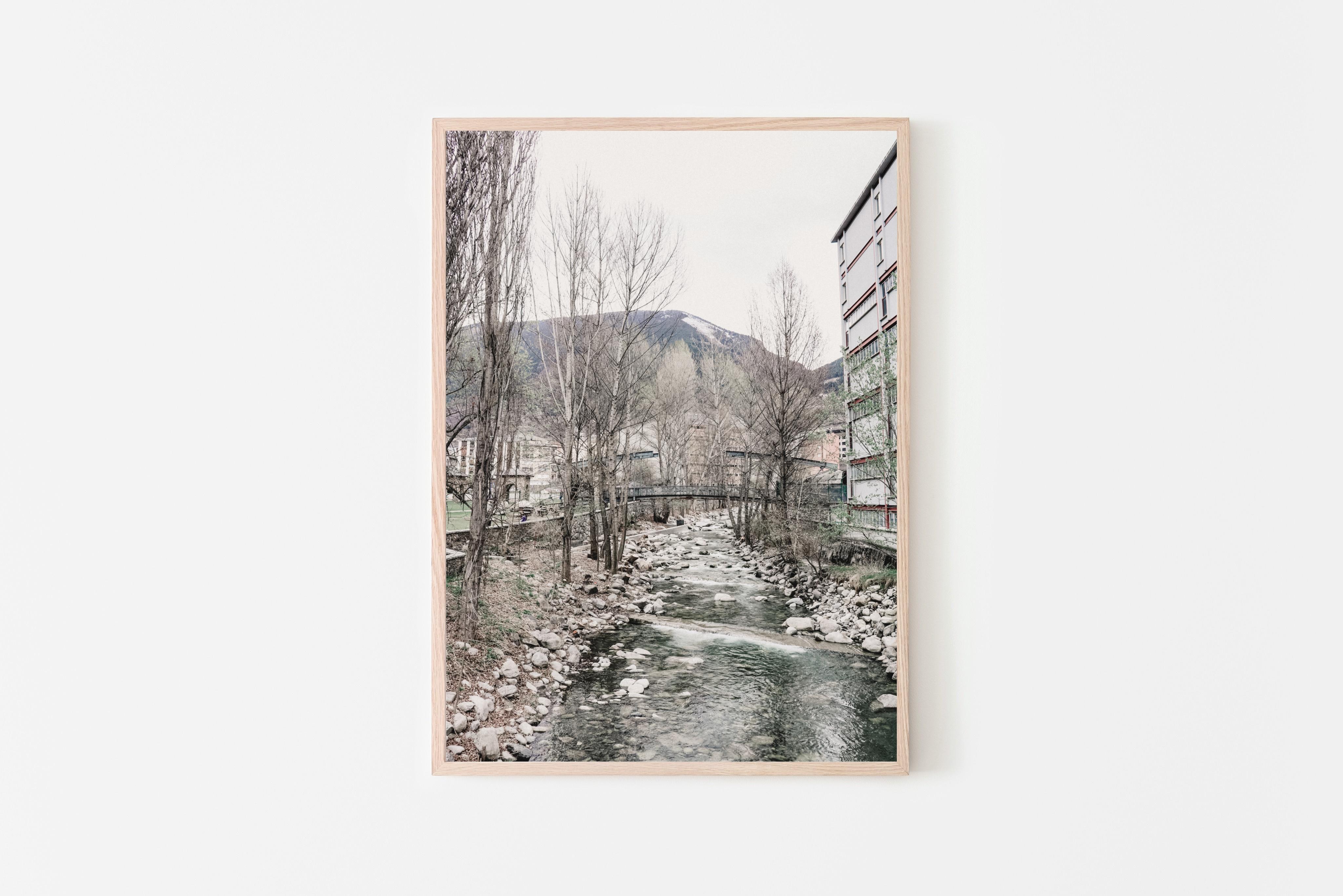 andorra river stream wall print