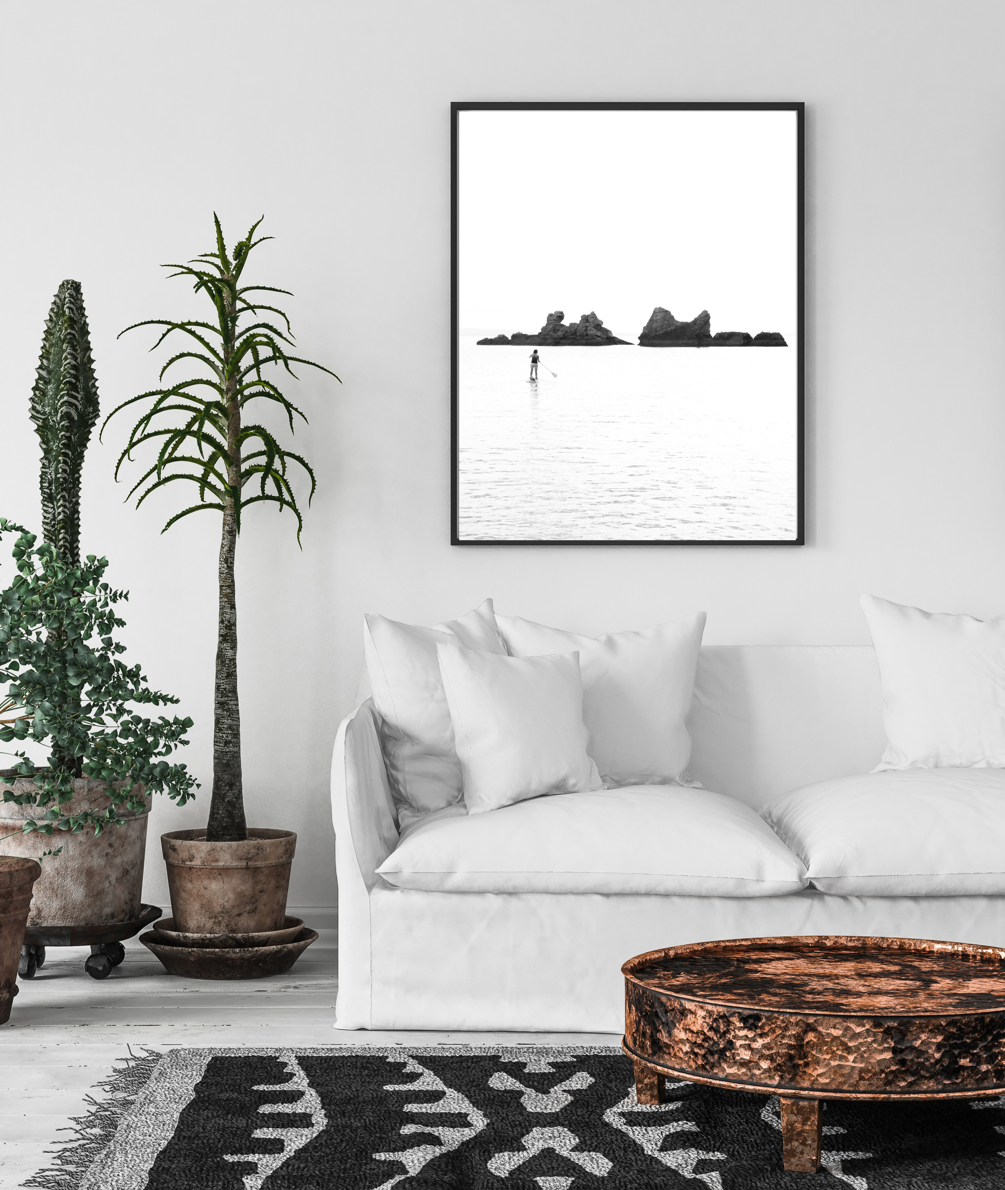 rock in the ocean black and white wall print