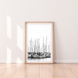 tel aviv sail boat black and white print