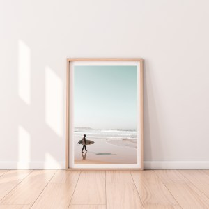 tel aviv beach surfer wall print