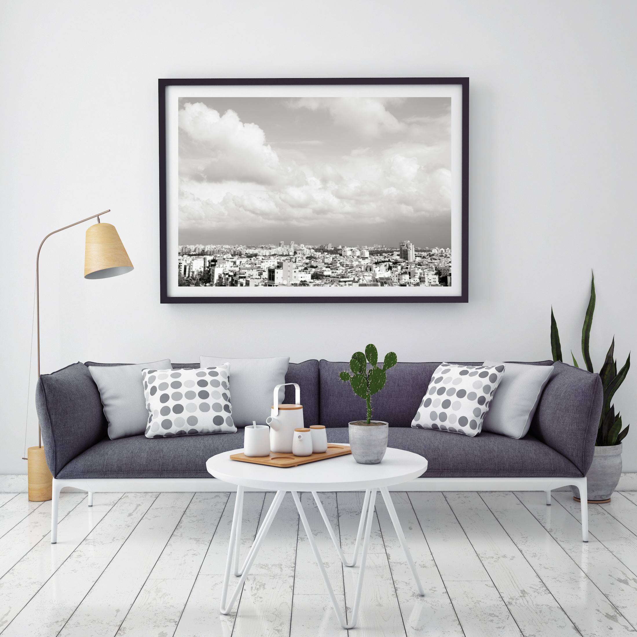 תמונה של גגות תל אביב בשחור לבן