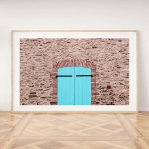 Turquoise door village spain wall print