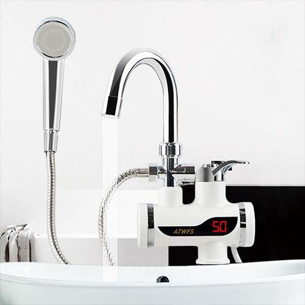 Temperature Display Instant Hot Water Tap With Hand Shawer