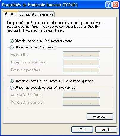 Client DHCP sous Windows XP