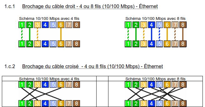 brochage du cable droit et croise