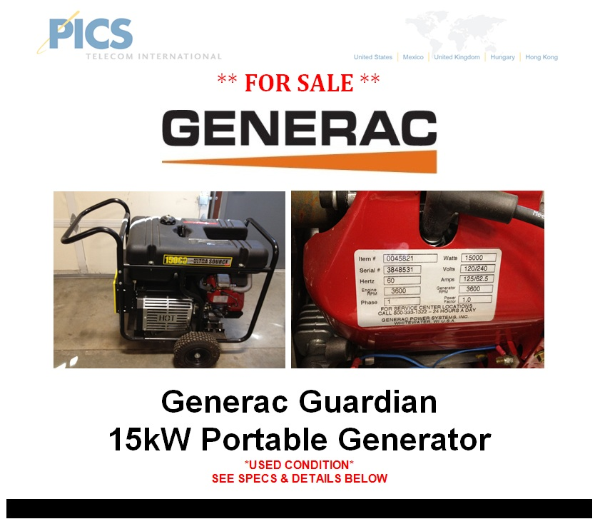 Generac Guardian Portable 15kW Generator For Sale – telecomcauliffe