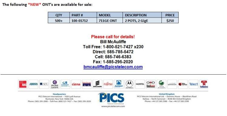 Calix 711GE ONT For Sale Bottom