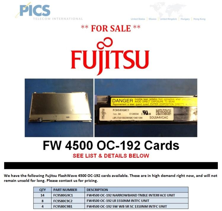 Fujitsu FW 4500 OC-192 Cards For Sale Top