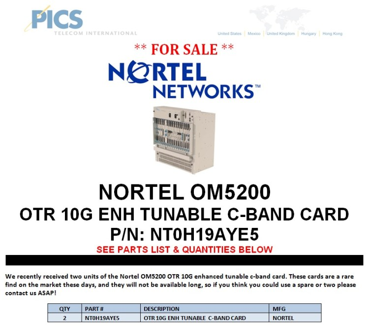 Nortel NT0H19AYE5 For Sale Top (7.25.13)