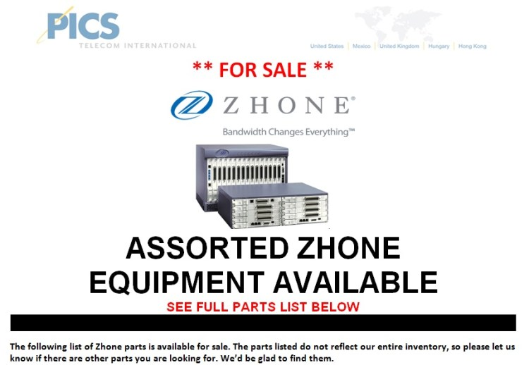 Zhone Assorted Parts For Sale Top (7.10.13)