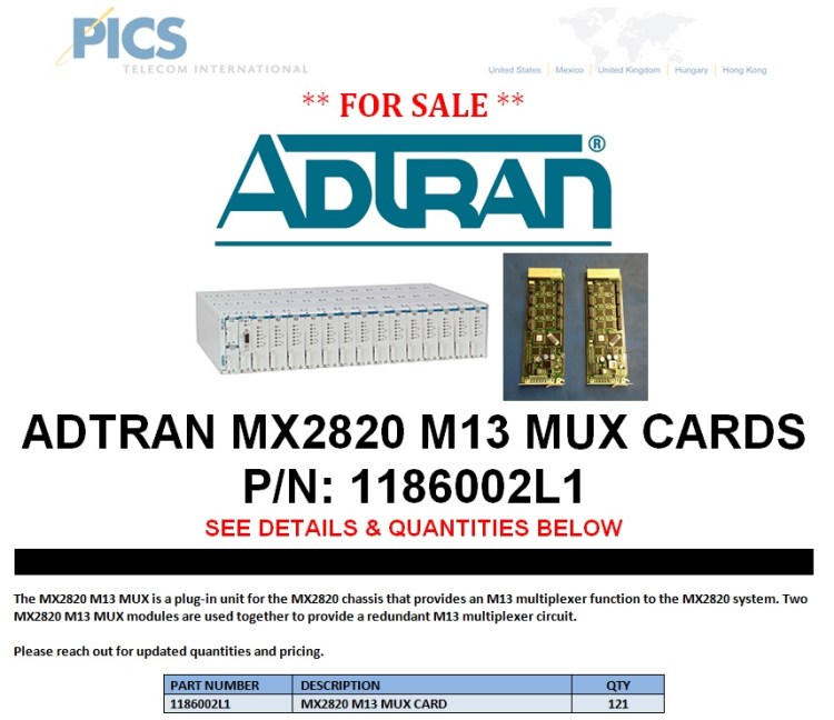 Adtran MX2820 M13 MUX Cards For Sale Top (8.22.13)