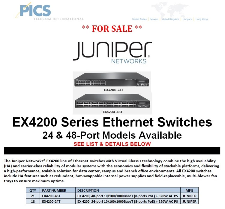 Juniper EX4200 Series Switches For Sale (8.12.13)
