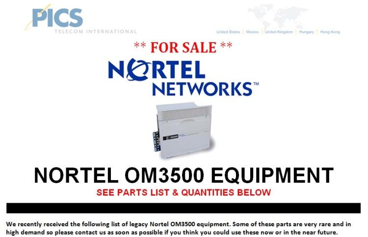 Nortel OM3500 Parts For Sale Top (10.18.13)