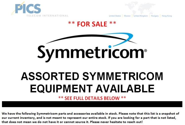 Symmetricom Assorted Parts For Sale Top (2.28.14)