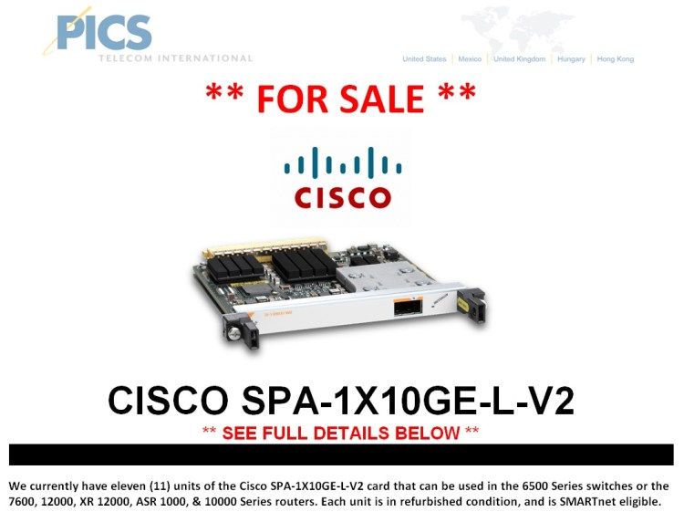 Cisco SPA-1X10GE-L-V2 For Sale Top (5.29.14)