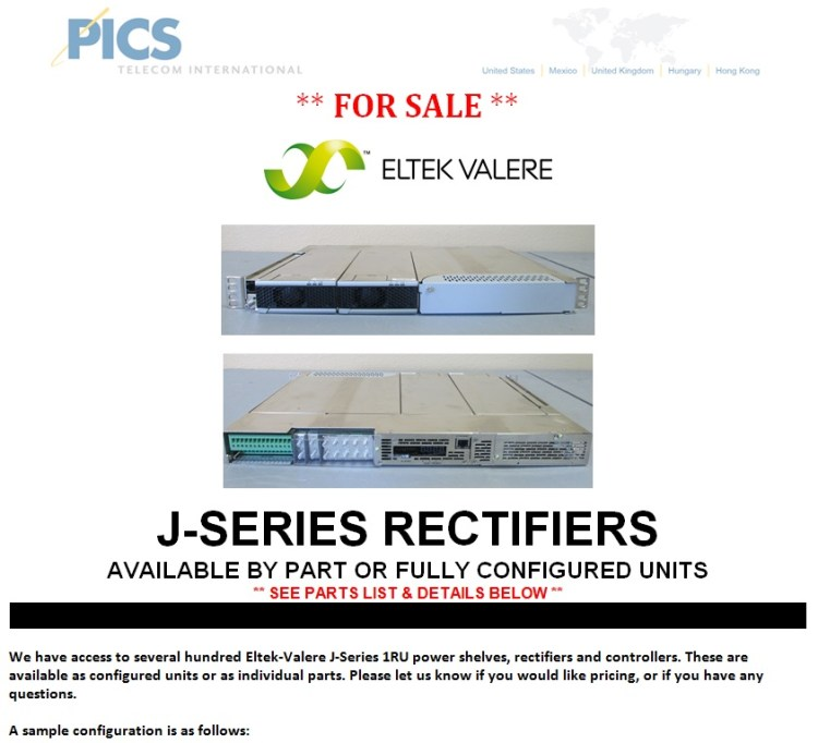 Eltek-Valere J-Series Rectifiers For Sale Top (5.6.14)