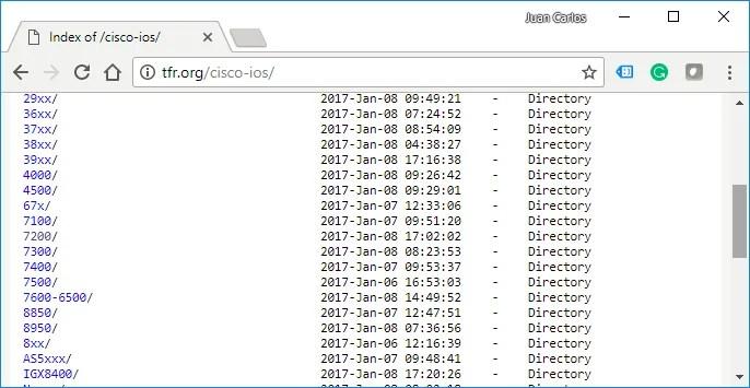 Recopilación de imágenes IOS de la página http://tfr.org/cisco-ios/