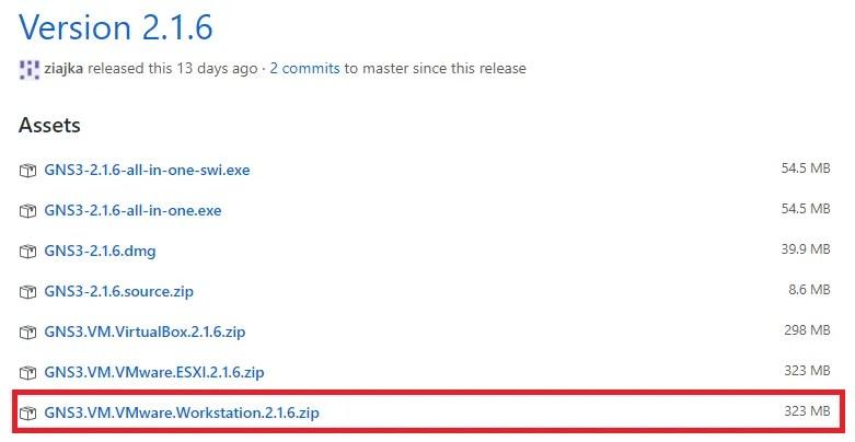 Descarga de GNS3 VM (Virtual Machine)