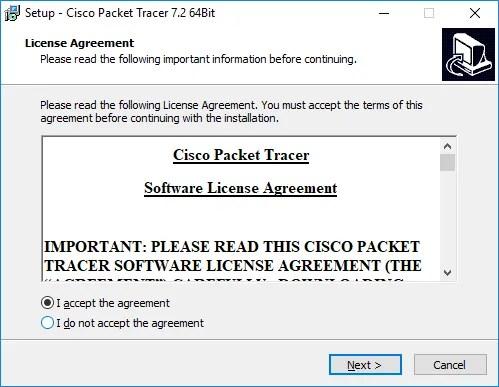 Acuerdo de Licencia Cisco Packet Tracer
