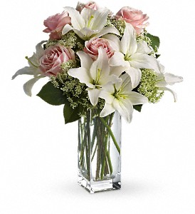 Asiatic Lily and Roses in whites and pinks