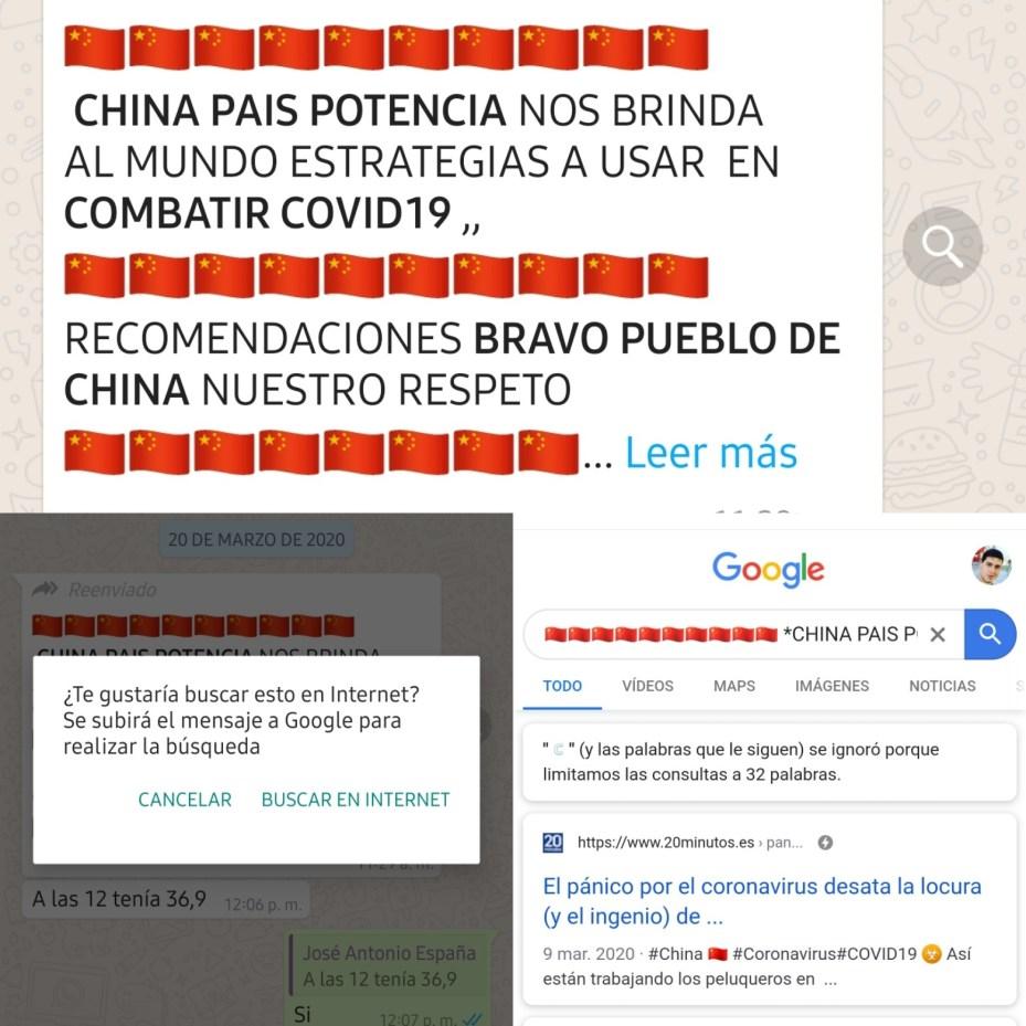 Fotos de WhatsApp que muestran cómo contribuye a la identificacion de bulos y Fake news