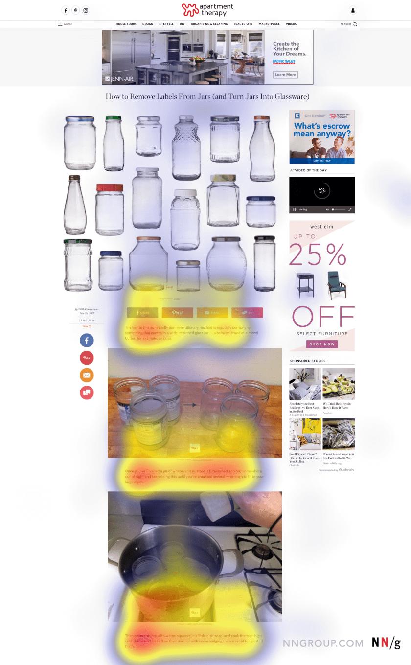 На этой тепловой карте отображены фиксации 26 человек, просмотревших страницу сайта. Пользователи читали текст, но практически не уделяли внимания верхнему баннеру и правой части страницы. Красным цветом обозначены области наибольшей фиксаций глаз; жёлтым — умеренной фиксации; синим — наименьшей. На незакрашенных местах фиксация отсутствовала.