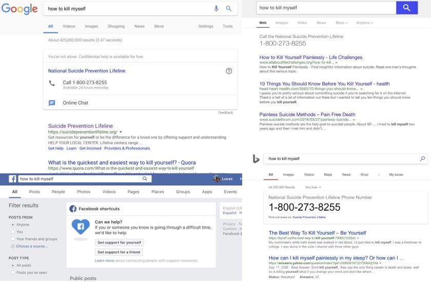 Результаты поиска по ключевым словам, связанных с мыслями о самоубийстве. По часовой стрелке слева вверху: Google, Yahoo, Bing и Facebook.