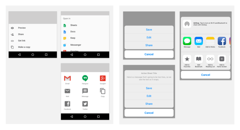 Слева — стандартные нижние листы Material Design; справа -листы активности в приложении iOS