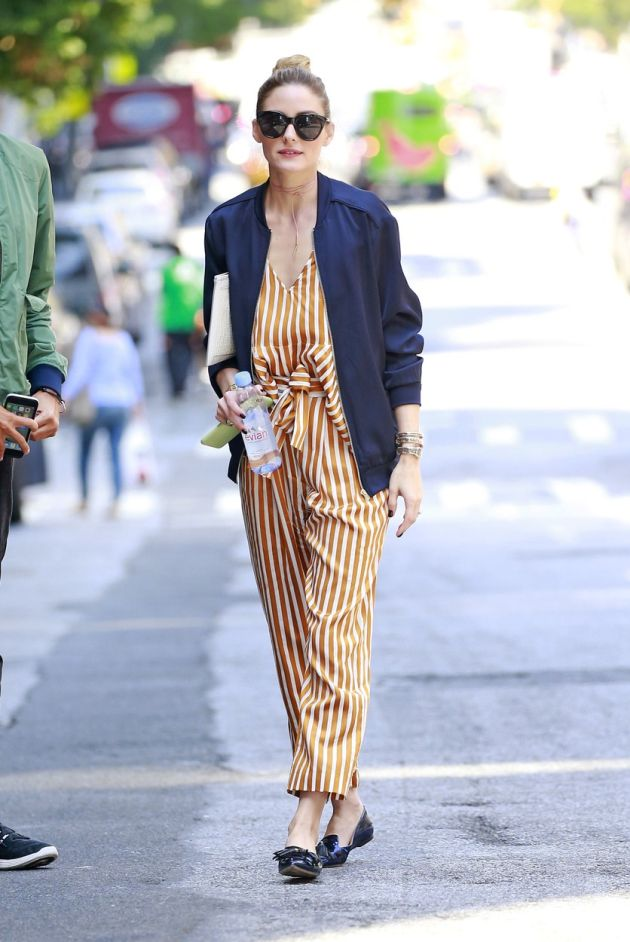 153131, Olivia Palermo wears a blue varsity jacket over striped pant dress while meeting up with a friend over lunch on the Upper East Side. New York, NY - Thursday June 2, 2016., Image: 288634431, License: Rights-managed, Restrictions: , Model Release: no, Credit line: Profimedia, Pacific coast news