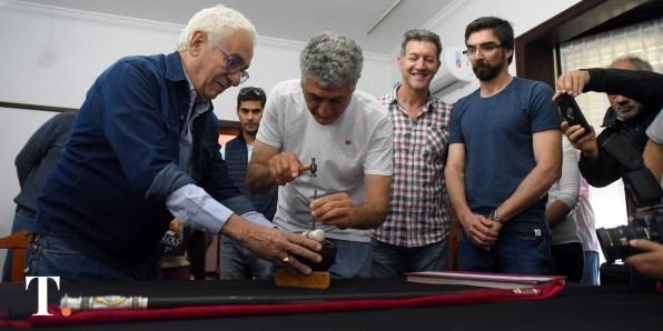 Barrera junto sus secretarios Emiliano Felice y Manuel Artieda.