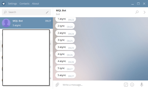 Example picture showing the possibility to send text messages from Metatrader MQL to Telegram