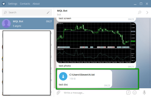 Example picture showing the possibility to send text files from Metatrader MQL to Telegram
