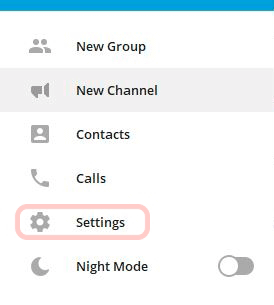 Call settings in the application on Windows