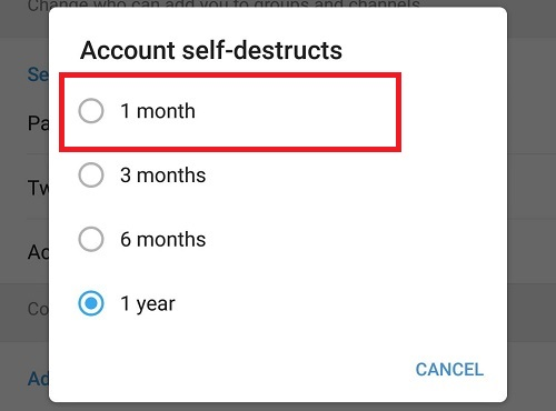 delete telegram account automatically