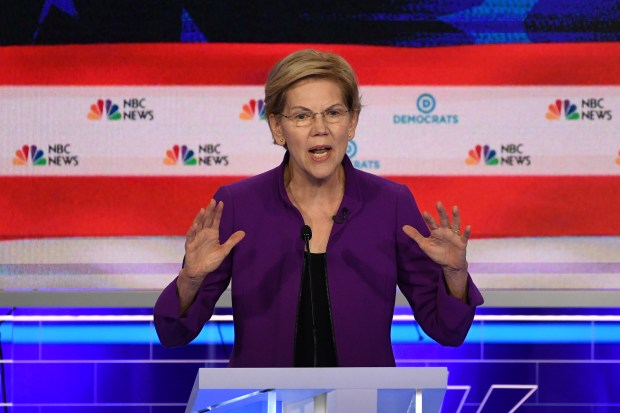 Democratic presidential hopeful US Senator from Massachusetts Elizabeth Warren participates in the first Democratic primary debate of the 2020 presidential campaign season hosted by NBC News at the Adrienne Arsht Center for the Performing Arts in Miami, Florida, June 26, 2019.