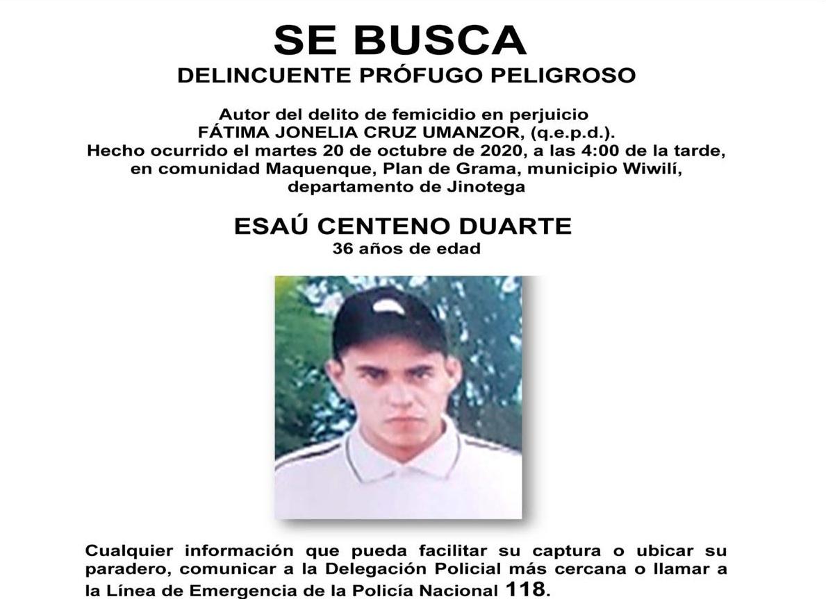 Policía busca a femicida de Wiwilí Jinotega
