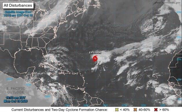 """Se forma la tormenta tropical """"Épsilon"""" en el centro del océano Atlántico"""