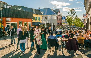Reykjavik street crowd