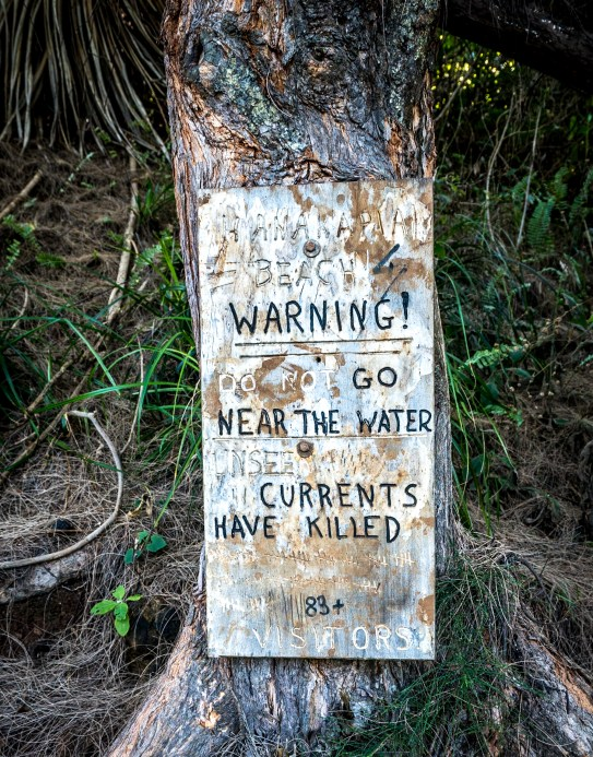 Warning Sign - Kalalau Beach Trail, Kauai