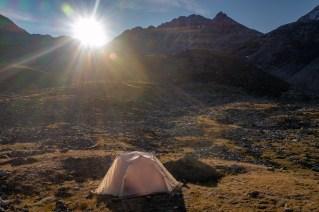 Campsite Below Augustboardpass Sunrise