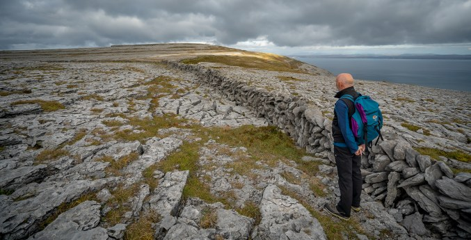 Hikinig on Gleninagh Mountain in the Burren