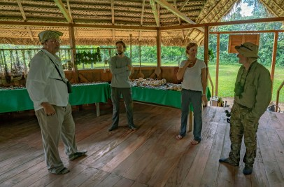 George Kris Bonnie Carl in Village Hut